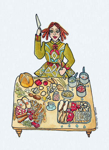 Postcard of an Irish girl preparing a huge breakfast. (c) Eloise O'Hare, 2008.