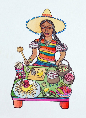 Postcard of a Mexican girl making nachos. (c) Eloise O'Hare, 2008.
