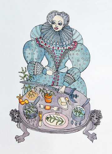 Postcard of a Queen preparing samphire. (c) Eloise O'Hare, 2008.