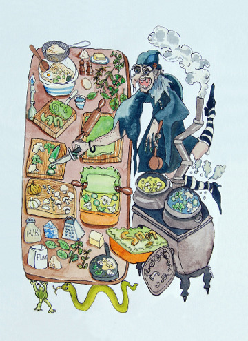 Postcard of a witch making a snot pie. (c) Eloise O'Hare, 2008.