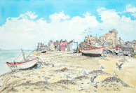 I painting of Aldeburgh Beach. I was commissioned to may the painting in 2018. (c) Eloise O'Hare.