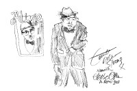 A sketch of Count Arthur Strong, made at a performance at the Norwich Playhouse in 2018. (c) Eloise O'Hare.