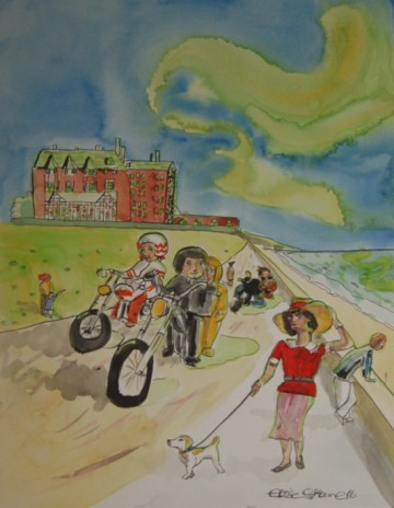 A painting of Hunstanton's prom, featuring bikers and a lady walking a dog. (c) 2016 by Eloise O'Hare.