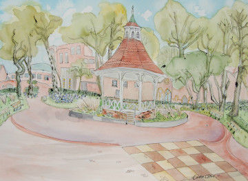 A watercolour painting of the bandstand in Chapelfield Gardens. (c) 2017 by Eloise O'Hare.