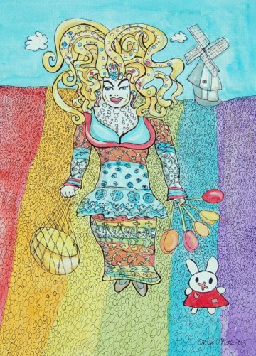 A painting of the Dutch artist Cybersissy standing in a rainbox tulip field. (c) 2012 by Eloise O'Hare.