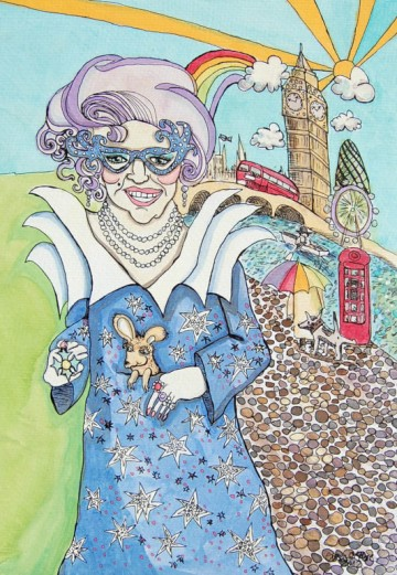 A painting of Dame Edna Everage in an Australian flag dress. (c) 2012 by Eloise O'Hare.