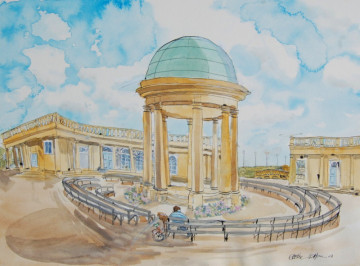 A watercolour painting of the bandstand in Eaton Park. (c) 2017 by Eloise O'Hare.