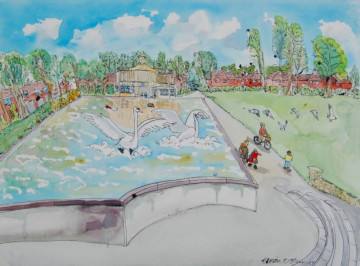 A watercolour painting of the model boat lake in Eaton Park, with two large swans landing in the lake. (c) 2017 by Eloise O'Hare.
