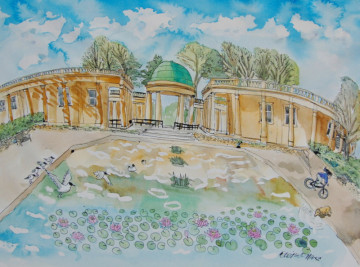 A watercolour painting of a lake with lillies and the Eaton Park pavillion. (c) 2017 by Eloise O'Hare.