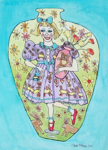 A painting of Claire, the alter-ego of artist / celebrity Grayson Perry. (c) 2012 by Eloise O'Hare.