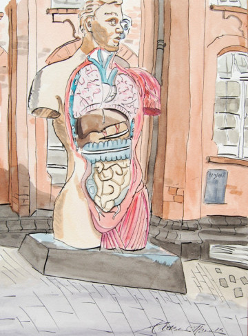 A watercolour painting of Damien Hirst's Hymn sculpture in front of the Norwich University of the Arts. (c) 2017 by Eloise O'Hare.