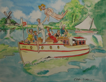 A painting of a group of people on a boat on the Norfolk Broads. (c) 2016 by Eloise O'Hare.