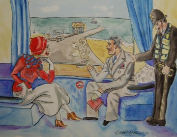 A painting of a man, women and bobby on a train near near Lowestoft. (c) 2016 by Eloise O'Hare.