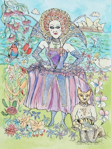A painting of Mitzi Macintosh dressed in her Royal Queen costume. (c) 2012 by Eloise O'Hare.