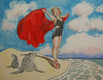 A painting of a woman and two seals on a sandbank at Morston Marsh. (c) 2016 by Eloise O'Hare.