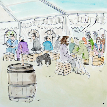 A watercolour painting of people and dogs in the EDP tent at the Royal Norfolk Show. (c) 2017 by Eloise O'Hare.