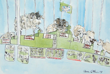 A watercolour painting of sheep on a podium at the Royal Norfolk Show. (c) 2017 by Eloise O'Hare.