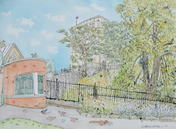 A watercolour painting of Norwich Castle, with pigeons and a squirrel in the foreground. (c) 2017 by Eloise O'Hare.