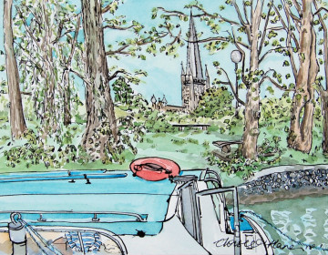 A watercolour painting of Norwich Cathedral with a boat on the river Wensum in the foreground. (c) 2017 by Eloise O'Hare.