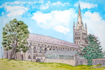 A watercolour painting of Norwich Cathedral and the Hostry. (c) 2017 by Eloise O'Hare.