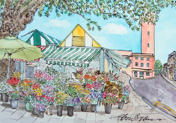 A watercolour painting of the flower stall on the corner of Norwich markets, with both the old and new city hall in the background. (c) 2017 by Eloise O'Hare.