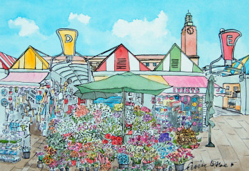 A watercolour painting of one of the flower stall on Norwich markets, with City Hall in the background. (c) 2017 by Eloise O'Hare.