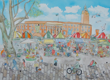 A watercolour painting of the Norwich markets and City Hall. (c) 2017 by Eloise O'Hare.