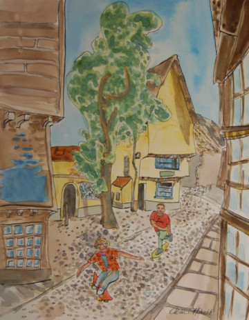 A painting of Elm Hill with two skateboarders on the cobbled street. (c) 2016 by Eloise O'Hare.
