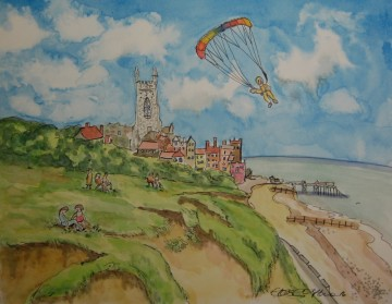 A painting of cromer and a paraglider who is about to land. (c) 2016 by Eloise O'Hare.