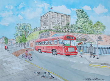 A watercolour painting of an old red bus parked in front of Norwich Castle. (c) 2017 by Eloise O'Hare.