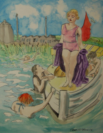 A painting of a woman being admired by male swimmers, with the Cantley sugar factory in the background. (c) 2016 by Eloise O'Hare.