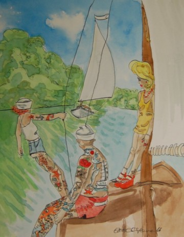 A painting of heavily tatooed people sailing on the Norfolk Broads. (c) 2016 by Eloise O'Hare.