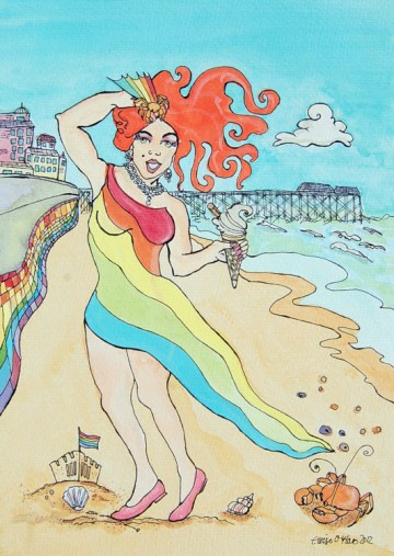 A painting of Titti Trash, posting on Cromer beach in a rainbow dress. (c) Eloise O'Hare, 2012.